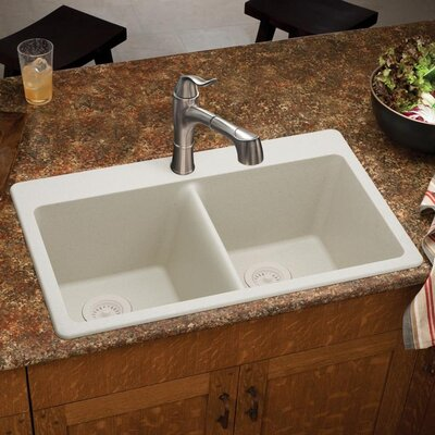 Quartz Classic 33 x 22 Double Basin Top Mount Kitchen Sink Finish: Bisque