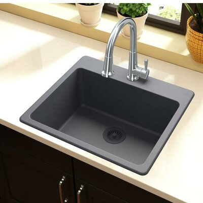 Quartz Classic 25 x 22 Top Mount Kitchen Sink Finish: Dusk Gray