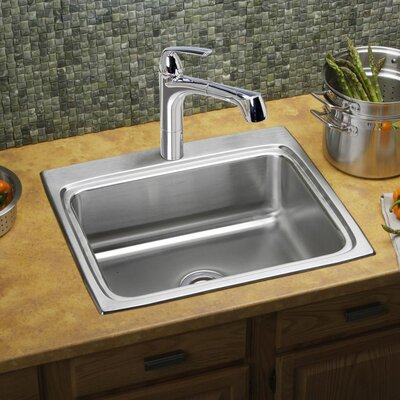 Lustertone 25 x 22 Drop-In Kitchen Sink Faucet Drillings: 4 Hole
