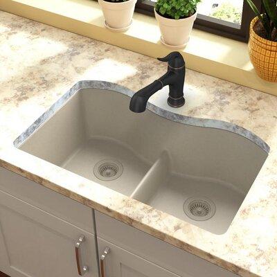 Quartz Classic 33 x 20 Double Basin Undermount Kitchen Sink with Aqua Divide Finish: Bisque