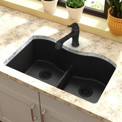 Quartz Classic 33 x 20 Double Basin Undermount Kitchen Sink with Aqua Divide Finish: Black