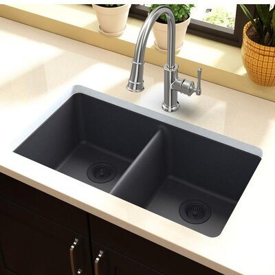 Quartz Classic 33 x 19 Double Basin Undermount Kitchen Sink Finish: Dusk Gray