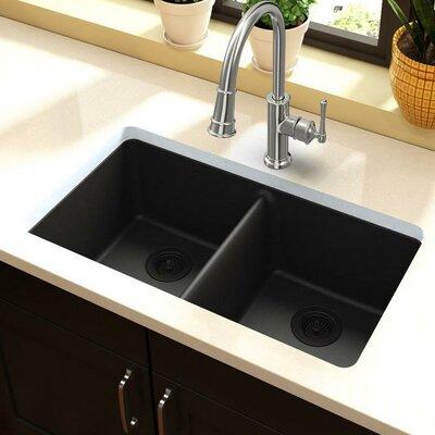 Quartz Classic 33 x 19 Double Basin Undermount Kitchen Sink Finish: Black