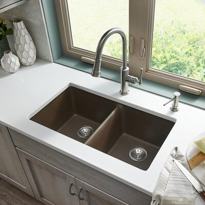 Quartz Classic 33 x 19 Double Basin Undermount Kitchen Sink Finish: Mocha