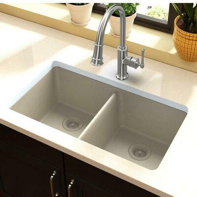 Quartz Classic 33 x 19 Double Basin Undermount Kitchen Sink Finish: Bisque