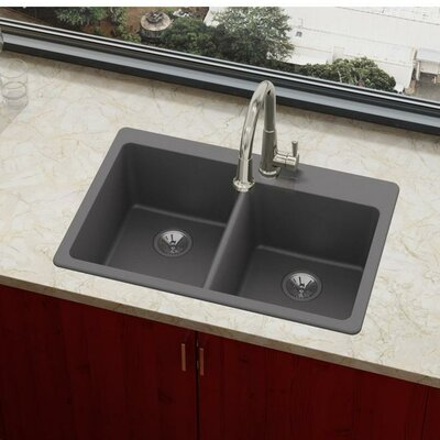 Quartz Luxe 33 x 22 Double Basin Drop-In Kitchen Sink Finish: Charcoal