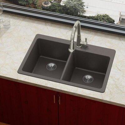 Quartz Luxe 33 x 22 Double Basin Drop-In Kitchen Sink Finish: Chestnut