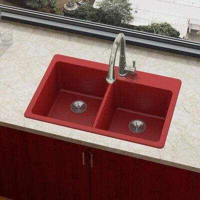 Quartz Luxe 33 x 22 Double Basin Drop-In Kitchen Sink Finish: Maraschino