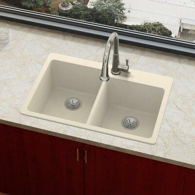 Quartz Luxe 33 x 22 Double Basin Drop-In Kitchen Sink Finish: Parchment