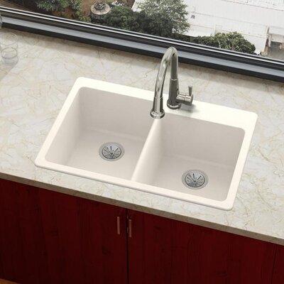 Quartz Luxe 33 x 22 Double Basin Drop-In Kitchen Sink Finish: Ricotta