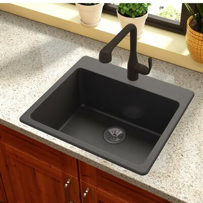 Quartz Luxe 25 x 22 Drp-In Kitchen Sink Finish: Caviar