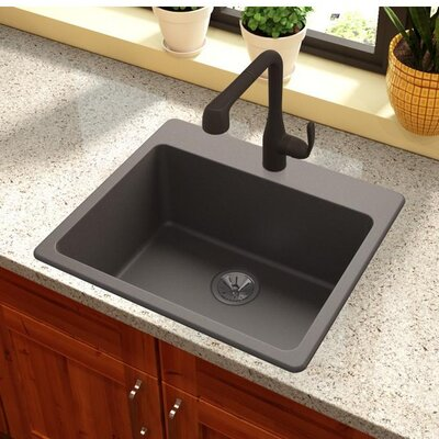 Quartz Luxe 25 x 22 Drp-In Kitchen Sink Finish: Chestnut