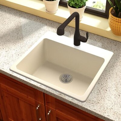 Quartz Luxe 25 x 22 Drp-In Kitchen Sink Finish: Parchment