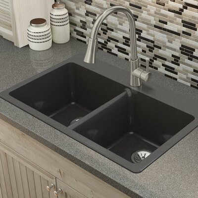 Quartz Luxe 33 x 22 Double Basin Drop-In Kitchen Sink Finish: Caviar