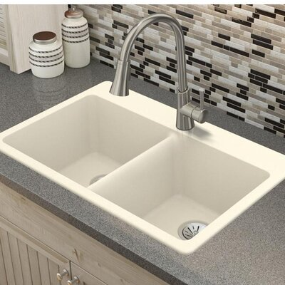 Quartz Luxe 33 x 22 Double Basin Drop-In Kitchen Sink Finish: Parchment