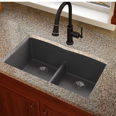 Quartz Luxe 33 x 19 Double Basin Undermount Kitchen Sink Finish: Charcoal