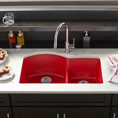 Quartz Luxe 33 x 22 Double Basin Undermount Kitchen Sink Finish: Caviar