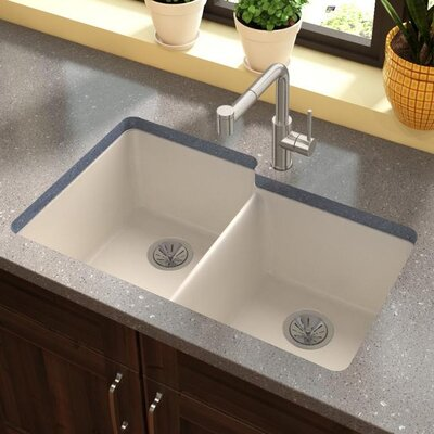 Quartz Luxe 33 x 21 Double Basin Undermount Kitchen Sink Finish: Ricotta