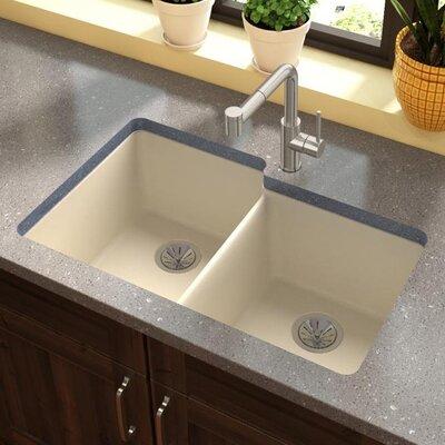 Quartz Luxe 33 x 21 Double Basin Undermount Kitchen Sink Finish: Parchment