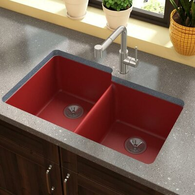 Quartz Luxe 33 x 21 Double Basin Undermount Kitchen Sink Finish: Maraschino