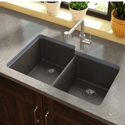 Quartz Luxe 33 x 21 Double Basin Undermount Kitchen Sink Finish: Chestnut