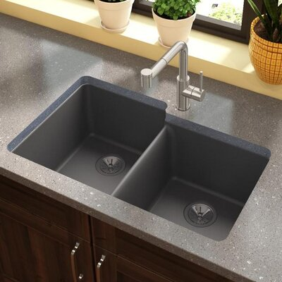 Quartz Luxe 33 x 21 Double Basin Undermount Kitchen Sink Finish: Charcoal