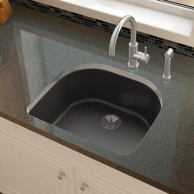 Quartz Luxe 25 x 22 Undermount Kitchen Sink Finish: Caviar