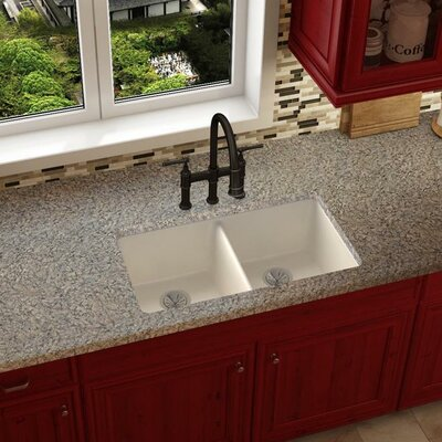 Quartz Luxe 33 x 19 Double Basin Undermount Kitchen Sink Finish: Ricotta