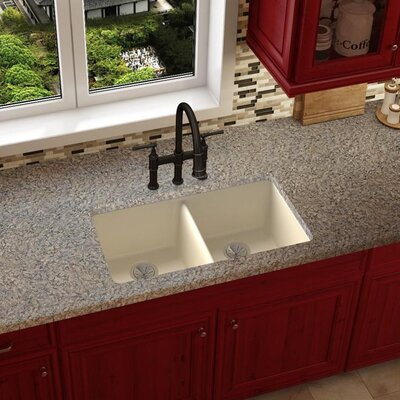Quartz Luxe 33 x 19 Double Basin Undermount Kitchen Sink Finish: Parchment
