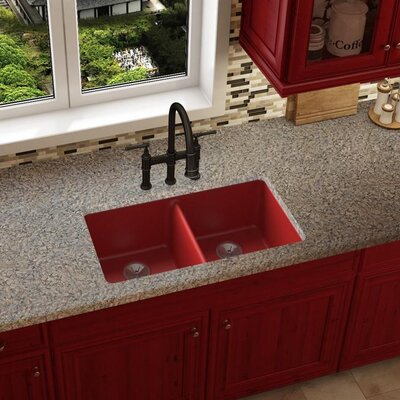 Quartz Luxe 33 x 19 Double Basin Undermount Kitchen Sink Finish: Maraschino