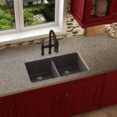 Quartz Luxe 33 x 19 Double Basin Undermount Kitchen Sink Finish: Chestnut