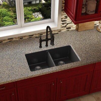 Quartz Luxe 33 x 19 Double Basin Undermount Kitchen Sink Finish: Caviar