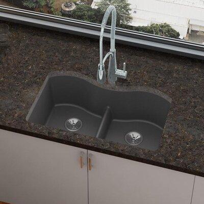 Quartz Luxe 33 x 20 Double Basin Undermount Kitchen Sink Finish: Charcoal