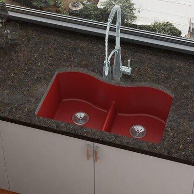 Quartz Luxe 33 x 20 Double Basin Undermount Kitchen Sink Finish: Maraschino