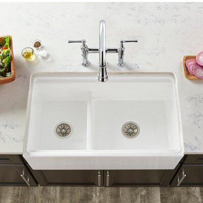 33 x 20 Double Basin Farmhouse Kitchen Sink with Divide Finish: Biscuit
