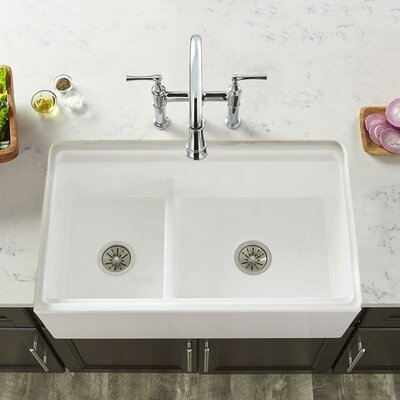 33 x 20 Double Basin Farmhouse Kitchen Sink with Divide Finish: White