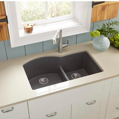 Quartz Classic 33 x 22 Double Basin Undermount Kitchen Sink with Aqua Divide Finish: Slate