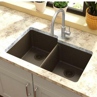 Quartz Classic 33 x 21 Double Basin Undermount Kitchen Sink Finish: Mocha