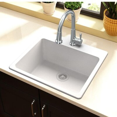 Quartz Classic 25 x 22 Top Mount Kitchen Sink Finish: White