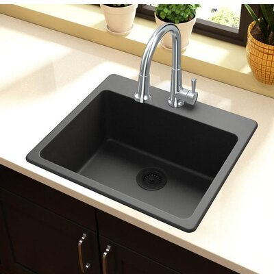 Quartz Classic 25 x 22 Top Mount Kitchen Sink Finish: Black