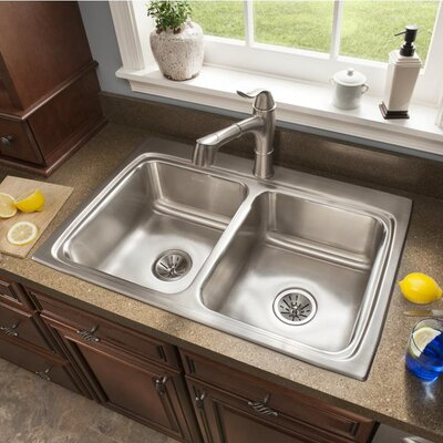 Lustertone 33 x 22 Double Basin Drop-In Kitchen Sink Faucet Drillings: 4 Hole