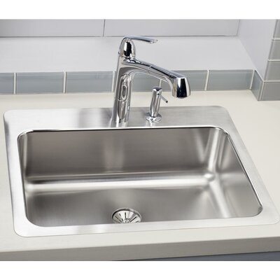 Lustertone 27 x 22 Drop-In Kitchen Sink with Drain Assembly Faucet Drillings: 4