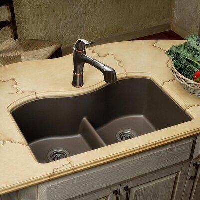 Quartz Classic 33 x 20 Double Basin Undermount Kitchen Sink with Aqua Divide Finish: Mocha