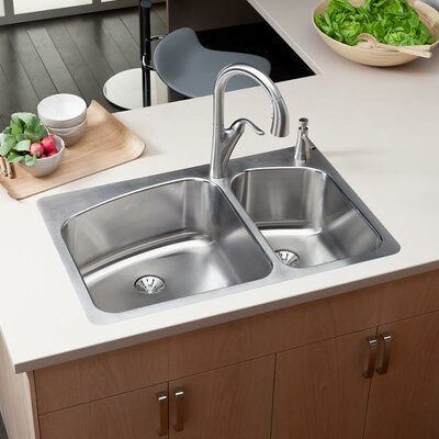 Lustertone 33 x 22 Double Basin Drop-In Kitchen Sink with Drain Assembly Faucet Drillings: 2 Holes, Left