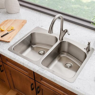 Lustertone 33 x 22 Double Basin Drop-In Kitchen Sink with Drain Assembly Faucet Drillings: 3 Holes