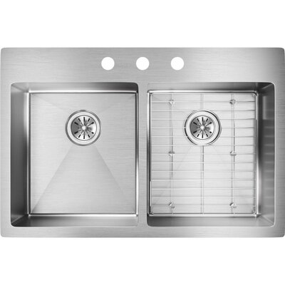 Crosstown 33 x 22 Double Basin Undermount Kitchen Sink with Sink Grid Faucet Drillings: 3