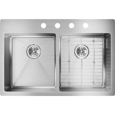 Crosstown 33 x 22 Double Basin Undermount Kitchen Sink with Sink Grid Faucet Drillings: FR2