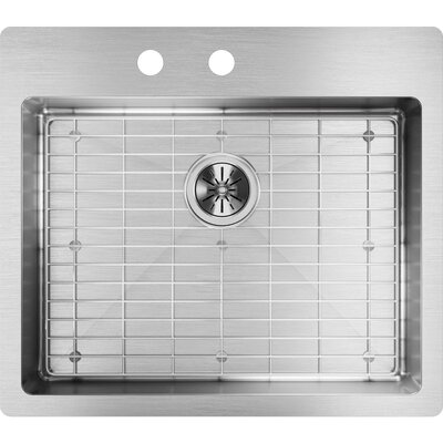 Crosstown 25 x 22 Undermount Kitchen Sink with Sink Grid Faucet Drillings: 2
