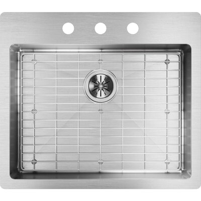 Crosstown 25 x 22 Undermount Kitchen Sink with Sink Grid Faucet Drillings: 3