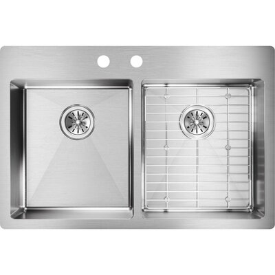 Crosstown 33 x 22 Double Basin Undermount Kitchen Sink with Sink Grid Faucet Drillings: 2
